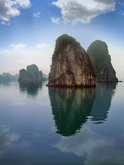 Halong bay (pierik) Tags: sea sky fish clouds bay boat asia village fishermen floating vietnam halong