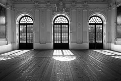 Lichtspiel (...like a chimp with coconuts) Tags: door wood windows light bw window glass silhouette doors floor space empty silouette flooring chiaroscuro 1111v11f 123bw mg3303