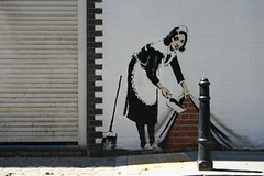 banksy : Hoxton Square (invisiblemadevisible) Tags: england streetart stencils london banksy shoreditch hoxton cleaner maid oldstreet whitecube eastlondon invisiblemadevisible banksystencil