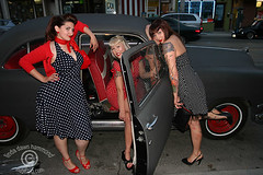 Polka Dot Girls 1 (DawnOne) Tags: street girls toronto hot ford car fashion vintage dawn photos rally  parliament polka dot chrome linda scouts rockabilly hood scandal rods 2009 hammond 1950 indyfotocom