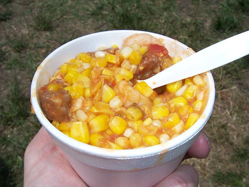 Shrimp-and-sausage maque choux from the United Houma Nation stand at JazzFest, New Orleans