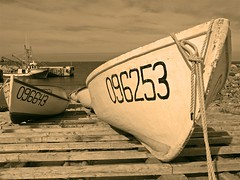 Numbers (Mark Veitch) Tags: ocean camping sea blackandwhite bw tag3 taggedout sepia newfoundland boats bay boat fishing ramp tag2 tag1 harbour tie rope knot numbers 200 boatramp 200th 123ac