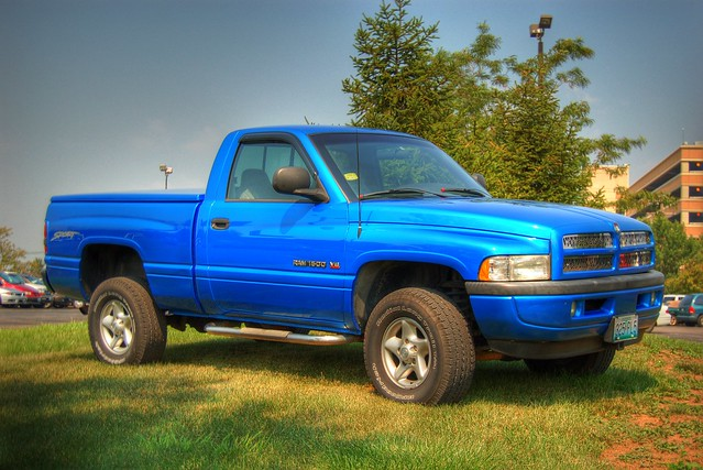 blue trees sky reflection car outdoors dodge ram 1500 hdr monkeyframpton