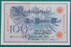 1908-REICHSBANKNOTE-100-MARK-0698811N-OBVERSE-37-D19 (noteworthycollectibles) Tags: germany paper deutschland mark silk imperial currency banknote notgeld seiden pfennig hyperinflation badische reichsbank emergencymoney darlehnskasse
