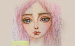 Candy (lilac-girl90) Tags: pink flowers art love girl beauty illustration vintage sketch spring artwork eyes doll acrylic sad candy photos iraq drawings baghdad draw watercolors