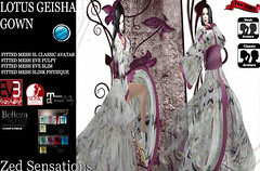 Lotus  Geisha Gown Butterfly (Zed Sensations) Tags: eve classic fashion female asian japanese costume clothing slim dress mesh avatar traditional chinese womens sensual fantasy secondlife virtual kimono gown gowns oriental sensations zed physique silks roleplay fitted slink pulpy evemesh
