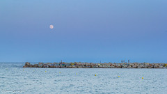 Walk on the rocks under the moon (Laurentquinquis *Lolo*) Tags: barcelona sea moon canon rocks barcelone tamron1750 60d