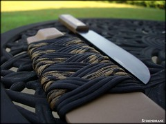 Old Hickory knife with paracord wrapped kydex sheath... (Stormdrane) Tags: life wood camping black home kitchen handle diy fishing rivets sailing cut steel military tan knife property tie craft wrap polish knot hobby sharp knights backpacking slice howto boating fixed blade carbon edc brass grind defense weave fit braid scouting madeinusa everydaycarry defend 550 oldhickory paracord friction turkshead kydex paulgranger stormdrane