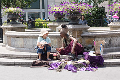 The Fortune Teller (John Fraissinet) Tags: park street nyc newyorkcity flowers ny newyork purple sony streetphotography unionsquare fortuneteller streetobservationscom nex7 johnfraissinet