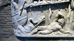 Ketos and Jonah (in Endymion pose) with a ketos (sea monster) below an arbor, Santa Maria Antiqua Sarcophgus