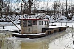taking on water (David Sebben) Tags: salty dog boat harbor mississippi river winter cold snow sinking iowa