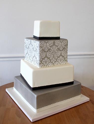 Modern Square Damask Silver Wedding Cake