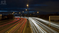 Light Trail (Kai Hannah) Tags: white red trails city photography panasonic photo photos park people pics pictures movement light night high rush lumix rushing sky cloudy time nature scotland reflection res reflections lens camera like slow slowshutter glasgow hq background dark shutter g1 bridge black blue moonlight cameras trail motorway car