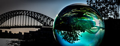 Crystal ball harbour (Martin Snicer Photography) Tags: travel crystalball harbour sydney harbourbridge bridge architecture composition 6d 50mm perspective photographer martinsnicer crystalballharbour