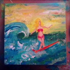 Little Surfer Girl (BLACK EYED SUZY) Tags: summer art girl colorful paint surf acrylic waves surfer surfboard blonde