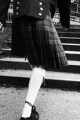 """I'm on my way ..."" (Stevie Barrett) Tags: street blackandwhite bw kilt glasgow candid westend"