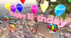 Surprice............................ (BijankRau   [ photograp'r model.]) Tags: dutch loving balloons happy mess avatar floating blond secondlife presents hanging rlbirthday