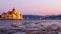 Winter dream (nikoletta.szakaly) Tags: hungary budapest danube parliament ice river sunset building castle chainbridge