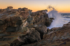 Splash! (djryan78) Tags: rock victoria landscape bassstrait sigma dslr australia water indianocean splash canon canon6d 24105 sea clear hightide summer beach ocean dusk shelleybeach waves sunset rocks sky seascape sigma24105 6d outdoor kilcunda au