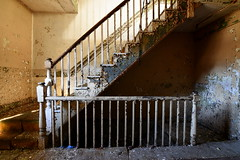 railing (bobsnikond200) Tags: stair stairs staircase stairwell railing texture abandoned decay mill factory forgotten industrial dirty baluster handrail natural light dirt
