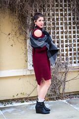 IMG_6148 (simonenicolephotography) Tags: maroon winter january texas colleyville north richland hills roots coffee house mug tea menu lady girl brunette amanda hazel brown eyes canon rebel t3i 50mm simone nicole photography stairs steps wool knit dress boots baby its cold outside outdoors