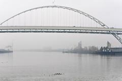 Fremont Bridge on the Willamette (Orbmiser) Tags: 70300vr d90 nikon oregon portland winter willametteriver bridge fremontbridge fog river