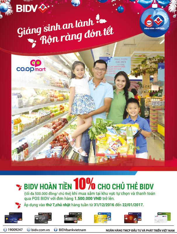 Hoàn tiền 10% cho các chủ thẻ BIDV khi mua sắm tại hệ thống Co.opmart