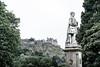Allan Ramsay Statue & Edinburgh Castle (spcoonley) Tags: fujifilm fuji xe2 xf35mmf14 edinburgh scotland princes street poet writer allan ramsay statue castle