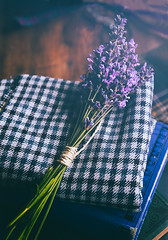 Lavender (borealnz) Tags: lavender flower scented plaid books string tied table bunch