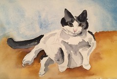 Debbie in Cat Pose (Handwork Naturals) Tags: painting watercolor catskill dailypainting feline catportrait cat edenscovillehart