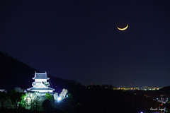 Inuyama-castle & crescent moon (稲垣一志) Tags: aichipref inuyamacastle inuyamacity japan castle crescentmoon moon nationaltreasure night nightview nightscape 三日月 国宝 城 夜 夜景 愛知県 日本 月 犬山城 犬山市