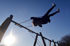 Day 21. Daredevil. (Rob Emes) Tags: swing swings greenwich silhouette park play flare sun blue 365 g7xii canon