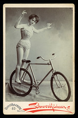 f_biketricklady (ricksoloway) Tags: cabinetcards vintagephotos antiquephotos oldphotos photohistory funonwheels bikes bicycles tricks biketricks