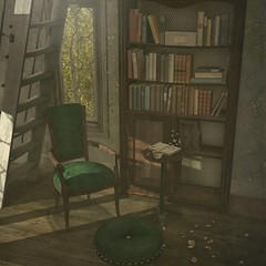 ..::THOR::.. Storybook Set - Collabor88 - February 8th Round (andraus thor) Tags: thor collabor88 sl secondlife metaverse 3d mesh furnitures tales fable vintage shabby storyteller storybook props set armchair bookshelf books pillow popup