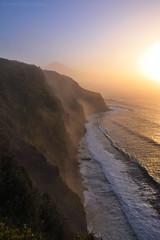 Five hundred steps (Beatriz-c) Tags: landscape cliff paisaje acantilado travel viaje travelling viajar sunset atardecer beach playa waves olas sun sol mist niebla calima