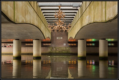 Chandelier under a railway bridge (Ciao Anita!) Tags: bridge friends reflection art netherlands river utrecht arte kunst fiume nederland railway ponte chandelier brug olanda amersfoort riflesso ferrovia kroonluchter weerspiegeling spoorweg rivier lampadario eem spoorbrug theperfectphotographer