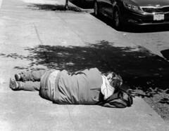 Sleeping Rough #2 (cleershaddo) Tags: sleeping blackandwhite oregon 35mm portland homeless sidewalk rough fed fed1 roughsleeping fedka