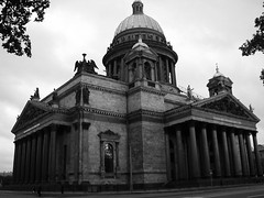 St Isaac's (Wits End Photography) Tags: roof blackandwhite bw white black building window monochrome architecture stpetersburg religious grey blackwhite russia religion gray landmark tourist structure dome opening portal spiritual attraction blackchurch