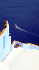 Patio Blue (Jae at Wits End) Tags: blue white building architecture colorful europe santorini greece multicolored