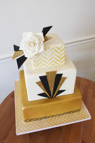 Gold & Black Art Deco Wedding Cake