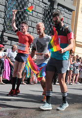 Priderunners (Toni Kaarttinen) Tags: street gay boy party man men guy boys festival beard march rainbow sweden stockholm flag schweden glbt guys running pride tights parade celebration prideparade lgbt short marching sverige gaypride runner queer rainbowflag estocolmo stoccolma suecia  gayprideparade streetparty sude tukholma svezia stockholmpride pridefestival ruotsi gaypridearoundtheworld hlbt hlgbt pride2015 stockolmpride2015