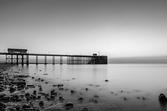 Penarth Beach and Pier #2 (A J Thackway) Tags: longexposure morning sea summer bw sun beach water monochrome beautiful wales sunrise canon bristol landscape dawn coast pier early wooden rocks glow south tide low cymru august vale filter walkway glamorgan milky tidal penarth hdr channel waterscape 6d refurbished 2015 blackglass f4l ef24105mm 9stop hoyandx400