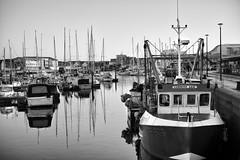 Cornish Gem (Foto John) Tags: leicam leicam240 leica leicamtyp240 rangefinder summicronm50mmƒ2iv blackwhite blackandwhite blackandwhitethatsright monochrome harbour boats fishingvessel yachts water maritime nautical barbican plymouth plymouthsound uk