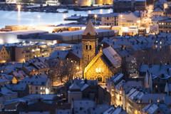 Ålesund Church (Stig-Arve Holmem) Tags: church canon 70d 200mm f28l ålesund norway beautiful winter snow amazing light streetlight dark night tiltshift tilt shift nice outdoor