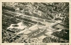 Place de la Concorde (mgjefferies) Tags: france paris 1930 aerial postcard placedelaconcorde seine river bridge pont