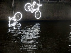 Light Festival Bikes (2) (Quetzalcoatl002) Tags: lightfestival amsterdam light canal reflection bicycles bikes illumination streetart