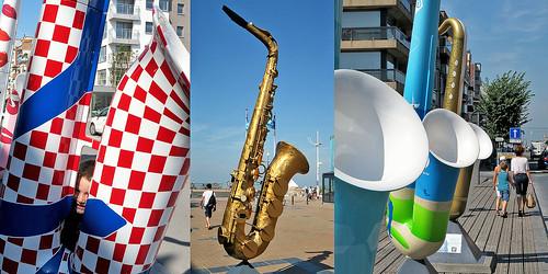 Exposition de saxophones, Zeelaan, Koksijde (Coxyde) Belgium