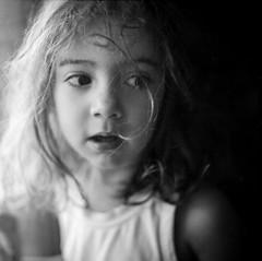 The Girl With The Messy Hair (Shooting Ben) Tags: girl cute pretty film mediumformat 120film mama c330 coffee caffenol messyhair hair eyes face portrait windowlight