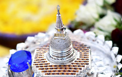 The Shrine in Silver (Fiqri) Tags: shrine buddhist buddha offerings gems stones gold silver crystal blue tradition srilanka