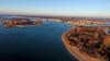 Just after sunrise, a DJI Phantom 4 soars over Fisherman's Cove Conservation Area and the Manasquan River. (apardavila) Tags: djiphantom4 fishermanscoveconservationarea jerseyshore manasquan manasquaninlet manasquanriver aerial drone